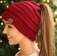 Wholesale Green Ponytail - 2018 Messy Bun CC Beanies For Women CC Trendy Warm winter knitted Chunky Soft Slouchy Ponytail Beanie Hats designer gorro feminino bonnet