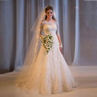 Hot selling 2017 Plus Size Vintage Lace Wedding Dresses Off Shoulder Long Sleeves Cheap Sequins Beaded Beach Backless Bridal Gowns vestido de noiva