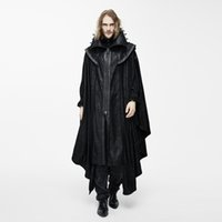 All'ingrosso-Devil Fashion Steampunk Men Long Mantello Cappotti Punk Gothic Halloween Dark Vampire Count Bat Cape Casual Cappotti allentati con cappuccio