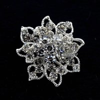 sparkly decorations - 1 Inch Sparkly Silver Tone Full Clear Rhinestone Crystal Diamante Small Flower Brooches Pin Women Clothing Decoration