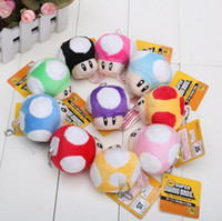 Wholesale Super Mario Mushroom Keychain - 7cm Super Mario Plush Keychain Toad Mushroom Stuffed Dolls Plush Keychains Pendants Super Mario Brothers Anime Stuffed Toy Free Shipping.