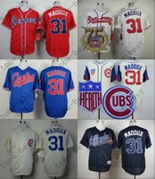 Wholesale Dog Jerseys - Greg Maddux Jersey White Red Atlanta Braves Chicago Cubs 31# Mad Dog Jerseys with 75th Patch