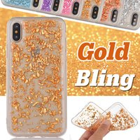 Caso de ouro Bling Paillette Sequin Clear Soft TPU Ultra Slim Shockproof Slim Glitter Cover para iPhone 8 Plus 7 6 6S SE 5 5S Samsung S8 S7 Edge