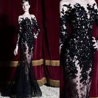 zuhair murad vestidos de noite pretos venda por atacado-2018 preto hot zuhair murad vestidos de noite mangas compridas rendas sheer sereia vestidos de baile vestidos de festa longo dubai árabe vestidos formais