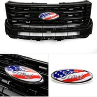 Wholesale car flag usa - Ford F-150 23*9cm USA Flag Car Emblem Badge ABS+Aluminum Hood Front Rear Trunk Logo for Ford Edge Explorer 2013-2017