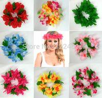 Wholesale Wholesale Green Lei - Hawaiian Flower Headband - Lei Decoration Luau Summer Party Hawaii Lei for Head Factory Direct Sale Top quality