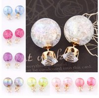 Wholesale Candy Color Stud Earrings - New Style Glass Double Earrings For Women Gravel Brand Statement Candy Color Crystal Earrings Stud Wedding Party Jewelry