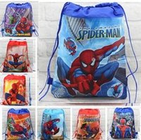 Wholesale Spiderman Backpacks - 30pcs Children's Cartoon Spiderman Non-woven Drawstring backpack party School bag Shopping Bags Gift for Kids 10 Design KB7
