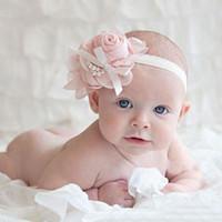 bebek keman baş bandı vintage toptan satış-Sıcak ! Bebek Kız Çocuklar Güzel Güller İnciler Saç Bantları Vintage Çiçekler Saç Aksesuarları Pretty Bantlar Bebek Bantlar 13 Renk