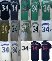 2017 Top Selling Mens Womens Kids Toddlers Seattle 34 Félix Hernández Beige Blanco Azul Gris Verde Barato Al Por Mayor de Béisbol Jerseys