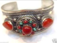 Wholesale Silver Turquoise Coral Tibetan Bracelet - free shipping >>>>>Asian tribal jewelry Tibetan Silver Red coral turquoise Cuff Bracelet