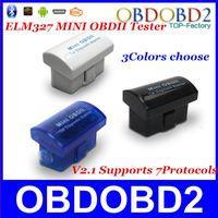 Wholesale Super Mini Pc - Wholesale-Latest Version V2.1 Super MINI ELM327 Bluetooth OBD OBD2 Wireless ELM 327 Multi-Language 12Kinds Works ON Android Torque PC