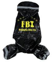 "Wholesale Waterproof Rain Coat Dog - Free shipping!Black dog rain coat ""FBI""disign pet Jacket Waterproof Windbreaker clothes,4 sizes available"