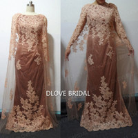 Real Photo Dark Champagne Grace Lace Madre del vestito da sposa Guaina Elegante occasione speciale Party Gown per matrimoni Vestido Mae Da Noiva