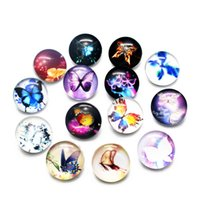 Wholesale Snap Ring Jewelry Making - New Arrived 20pcs Catoon Butterfly Snap Buttons Charms 18mm Glass Buttons Fit DIY Snap Bracelets Necklace Jewelry Making