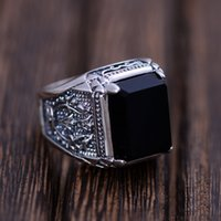 Atacado - Black Obsidian Ring Vintage 100% Real Pure 925 Sterling Silver para homens com pedra natural Genuine Fine Jewelry Rock Fashion