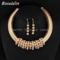 Wholesale Bib Earrings - New Women Short Design Accessories Chunky Chain Bib Rhinestones Circle Statement Necklaces Earrings Charm Jewelry Sets CE2773