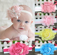 Wholesale 30 Stylish Baby Chiffon Pearl Beaded Headband Kids Rose Satin Bow Headdress Flower Infants Hairband Children Head Wear Photography Prop