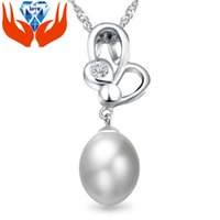 Wholesale Pendant Guarantee Sterling - Freshwater pearl S925 Sterling Silver Pendant inlaid CZ jewelry factory genuine high-end big guarantee