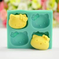 ingrosso muffa del gattino-Hello Kitty fondant Stampo in silicone zucchero Craft Cake Decorating Tool Candy Chocolate Mold Utensili da cucina Bakeware