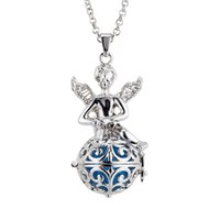 Wholesale Harmony Ball Charm Pendant Silver - Pregnancy Ball Baby Chime Necklace The hollow ball angels with wings harmony pregnant ball women necklace pendant