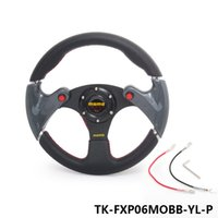 Wholesale Momo Carbon Steering Wheel - Tansky - New 320mm universal MOMO PVC car steering wheel +carbon firbre wheels With Horn Button Yellow TK-FXP06MOBB-YL-P