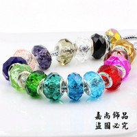 Wholesale Clear Crystal Glass Spacer Beads - 16 colors Loose Clear Rose Murano Glass Crystal Faceted Rondelle Spacer Big Hole Charms Beads Fit DIY European Bracelets