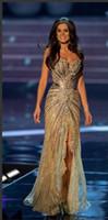 miss rose robes achat en gros de-Robe Miss Monde Brésil Robes De Bal Cristal Dentelle Perlée Tulle Robes De Soirée Formelle Gaine Côté Fente Sirène Robes De Célébrités