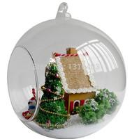 Wholesale Diy Dollhouse Kits - Wholesale-Miniature Christmas Glass House DIY House Assembling Model Building Kit With Furniture LED Light DollHouse Christmas Gift