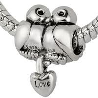 Wholesale Pandora Love Birds - Wholesale 925 Sterling Silver Love Birds Kiss Charms European Beads fit Pandora Snake Chain Bracelets Jewelry
