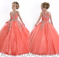 Wholesale Hot Pink Fuchsia Tulle Beads - Hot 2017 Coral Girls Pageant Dresses Princess Puffy Ball Gown Tulle Jewel Crystal Beading Kids Flower Girls Dresses Birthday Gowns DL751