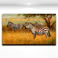 Wholesale Oil Painting African Art - African Wild Animal Zebra Painting Printed on Canvas Modern Mural Art Picture for Home Living Room Wall Decor