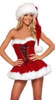 Wholesale Santa Fancy Dress - Adult Sexy Naughty Christmas Miss Santa Ladies Fancy Dress Xmas Party Costume + HAT 88561 one size S-L