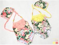 Wholesale Tassel Swimsuit Wholesale - children swimwear girls floral print tassel suspender swimwear Summer new kids Siamese swimsuits children spa beach swimsuit 7219