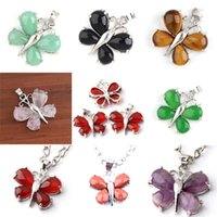 Wholesale Natural Jade Beads Necklace - Charm Amethyst Red Agate Malay Jade etc Natural Stone Butterfly Bead Pendant Accessories Silver Plated Butterfly Fashion Jewelry 16X Mix