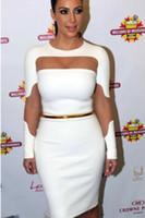 Wholesale Evening Dresses Kim Kardashian - New Kim Kardashian Dress H6488 Mesh Cutout Long Sleeve White Black Sheath Knee-Length Celebrity Red Carpet Dresses Evening Prom