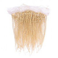 Wholesale lace frontal online - Kinky Curly Virgin Brazilian Human Hair Ear to Ear x4 Lace Frontal Bleached Knots Best Sell Blonde Full Lace Frontal Closure