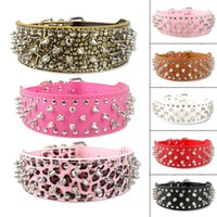Wholesale White Leather Collar Studded - 2inch wide white leather dog collars studded spiked pet collars big dog collars greyhound collars