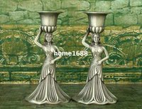 Wholesale Tin Candles Wholesale - Set of 2 Creative personality metal candle holders home decoration European romantic minimalist tin candlestick free shipping