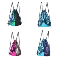 Wholesale Ladies Backpack Shopping Bags - Originality Drawstring Bag Mermaid Sequin Both Shoulders Storage Backpacks Woman Shopping Bundle Pocket Portable Ladies Gifts 22lj C R