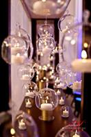 Wholesale Wholesale Hanging Glass Candle Holders - 12PCS Lot 8cm 10cm 12cm hanging tealight holder,air plant garden terrarium,wedding candlestick,home decor
