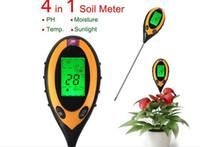 Wholesale Ph Temp Meter - Wholesale-portable digital soil gauge tester 4 in 1 soil moisture meter hydrometer temp light ph meter wireless soil survey meter