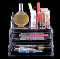 Wholesale Clear Plastic Storage Drawers - Cosmetic cases 100% plastic cosmetic and jewellery organizer makeup holder Clear cosmetic storage box two drawers 1063 DHL