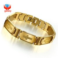 Wholesale Yellow Gold Cross Bracelet - 18K Yellow Gold Plated 12mm Wide Stainless Steel Cross Bracelet Bangles for Cool Men 2015 Fashion Jewelry Gift Free Shipping ZB127