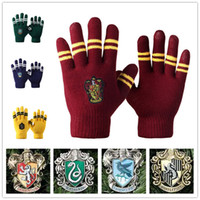 Wholesale Woman Knited Gloves - Harry Potter gloves School Unisex Knited gloves Cosplay Costume Warm Stripe gloves Christmas gift glove LA157-2