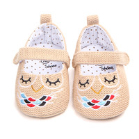 Wholesale Owl Print Fabric - Toddler kids cartoon crochet shoes 2018 spring new baby girls owl embroidery princess shoes newborn non-slip soft prewalker R1576