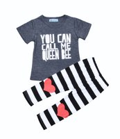Wholesale Heart Shirt Girl Striped - Girls loving heart printing outfits 2pc set you can call me queen bee letters printing short sleeve T shirt+striped pants ins hot 1-5T