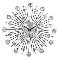 Wholesale Modern Metal Clock - Vintage Metal Art Wall Clock Luxury Diamond Large Wall Watch Orologio Da Parete Clock Morden Design Home Decor Wandklok B