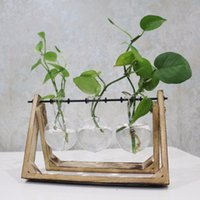 Wholesale Decorative Bamboo - Vintage Style Glass Tabletop Plant Bonsai Flower Wedding Decorative Vase With Wooden Tray Home Decoration Accessories