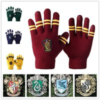 Wholesale Woman Knited Gloves - Harry Potter gloves School Unisex Knited gloves Cosplay Costume Warm Stripe gloves Christmas gift glove LA157-1